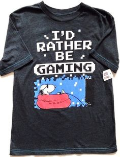 "NWT Snoopy Top Sz Medium Boys ""I'd Rather Be Gaming"" T-Shirt Gamer Peanuts New #Peanuts #Snoopy #Gamer"