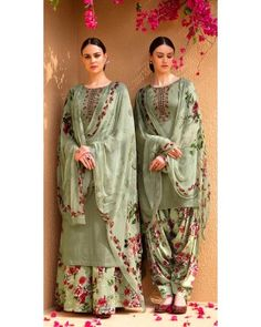 Pista green pure cotton satin Punjabi suit paired with a pure cotton satin printed bottom and pure bemberg chiffon dupatta. This suit is adorned with thread embroidery and stone work. Indian Dresses, Indian Outfits, Latest Pakistani Suits, Panjabi Suit, Suits For Women, Clothes For Women, Suit Prices, Indian Clothes Online, Punjabi Girls