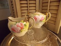 HAND PAINTED NIPPON Cream and Sugar Set by VintageCreativeAccen