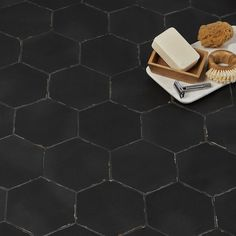 "Sasha Hex Sorrentine Nero 6"" Matte Porcelain Hexagon Tile"