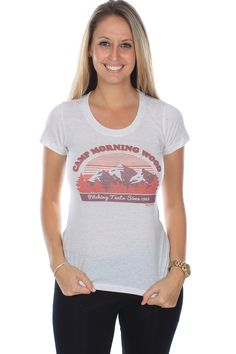 """Ask any dude, """"Been to Camp Morning Wood?"""" and watch them look at you blankly then redden as they figure out the joke. This women's tee in tan with red and brown motif."""