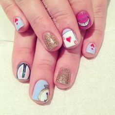 17 Incredibly Detailed Nail Art Designs That Nailed It - These Alice in Wonderland inspired nails. by rosemary