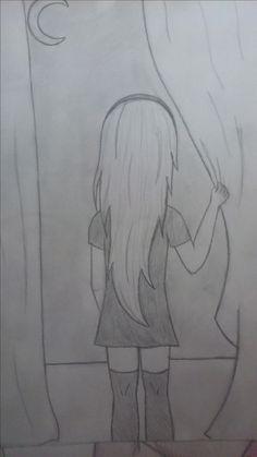 Art Drawings Beautiful, Dark Art Drawings, Girly Drawings, Pencil Art Drawings, Cool Drawings, Disney Drawings Sketches, Girl Drawing Sketches, Art Drawings Sketches Simple, Girl Drawing Easy