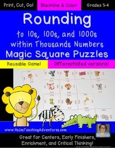 Rounding to 10s, 100s, and 1000s within Thousands Numbers Magic Square Puzzles - $ - Reusable game! Differentiated versions! Just print, cut, and go! Blackline & color! Grades 3-4. Great for centers, early or fast finishers, enrichment, and critical thinking!