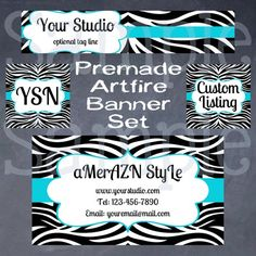 Premade ArtFire 4 Piece Shop Set: Funky Zebra Print & Teal Blue | aMerAZNStyLe - Digital Art  on ArtFire