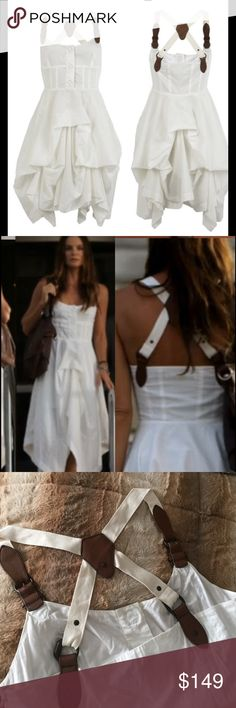 "All Saints Pretty Little Liars Suspender Dress 8 This is a gorgeous All Saints dress. It was worn on ""Pretty Little Liars"". Sold out everywhere. Size 8 US. White with brown detail. Bust 35"" waist 30"". Made of 100% cotton. All Saints Dresses"
