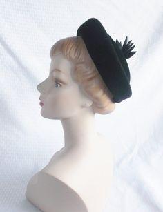 1950's Vintage Black Velour Hat with Ribbon by MyVintageHatShop, $41.00