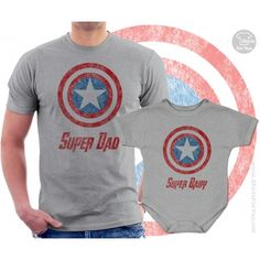 Super dad and Sidekick Dad and Baby Matching t shirt bodysuit onepiece Superhero set, fathers day gi Dad And Son Shirts, Family Shirts, Family Clothes, Matching Shirts, Matching Outfits, America Dad, Super Dad, Baby Prints, Father And Son