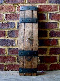 BourbonWhiskey Barrel Stave Clock by WWalkerWoodworks on Etsy, $150.00