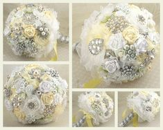 Brooch Bouquet Bridal Jeweled Bouquet Wedding Bouquet in Lemon Yellow, and White via Etsy