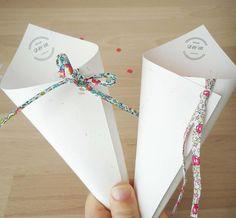 20 cornets à confettis - Mariage - cônes en papier blanc moucheté - Cordon Liberty - logo mariés - sortie église - riz - pétales - lavande