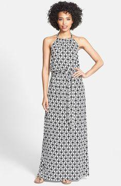Caslon® Stretch Knit Halter Maxi Dress (Regular