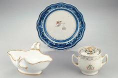"""President George Washington - Presidential China Fit for Kings, Queens, and the First Families - Southernliving. George and Martha Washington acquired these pieces during the late 18th century. The dinner plate with the blue """"Fitzhugh"""" border was purchased for Washington by General Henry Lee in 1786."""