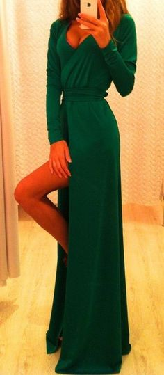dress green slit long sleeves maxi dress v neck dress long prom dress green dress wedding clothes long sleeves emerald green slit prom dress maxi Pretty Dresses, Beautiful Dresses, Gorgeous Dress, Looks Cool, Green Dress, Green Maxi, Playing Dress Up, Dress Me Up, Passion For Fashion