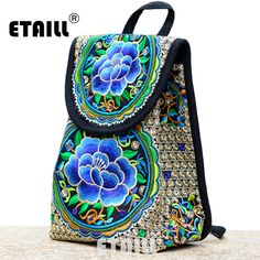 3c8f35829b5b Hmong Ethnic Floral Indian Embroidered Brand Logo Backpack Women Drawstring Travel  Bag Rucksack Sac a Dos