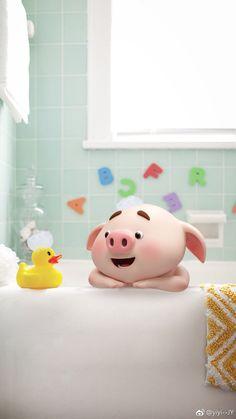 This is dicky duck Pig Wallpaper, Animal Wallpaper, Disney Wallpaper, Iphone Wallpaper, This Little Piggy, Little Pigs, Kawaii Pig, Cute Piglets, Pig Illustration