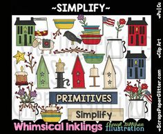 Simplify Prim Clip Art - Commercial Use, Digital Image, Clipart - Instant Download - Primitive, Salt Box House, Mason Jar, Crow, Candle by ResellerClipArt on Etsy