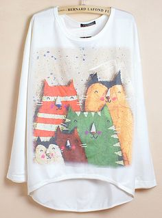 White Batwing Sleeve Five Cats Print Dipped Hem T-Shirt 0.00