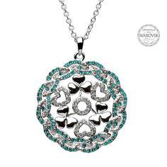 Shamrock Heart Silver Pendant Encrusted With Swarovski Crystals