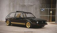 Black and gold Volkswagen Golf Mk1 with Lamborghini Countach wheels