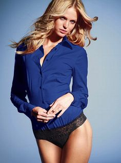 Victoria secret models in underwear women victoria s for Shirt tucked in underpants