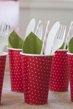 Strawberry Party Cups, Napkin  Cutlery