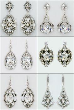 "Bridal earrings, crystal bridal earrings, bridal chandelier earrings.   Love the screen sirens of ""Old Hollywood""? Love sparkle & glamour? Channel your ""Hollywood Glamour"" with a walk down the aisle in these amazing crystal earrings designed by Cheryl King Couture."