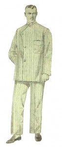 """From article: """"Everyone wore vertical stripes unless they were boring and only wore white. Pajamas in percale, crepe, and silk replaced flannel nightshirts with even the most conservative men. Shirts either buttoned up straight with a military collar or a mandarin style collar with overlapping panels like the on the left. Many fastened not with buttons but with Chinese frog clasps. Some also had Japanese Kimono sleeves and soft round mandarin collars."""""""