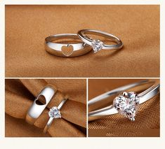 Korean Version Of The Simple Hollow Heart-Shaped 925 Sterling Silver Couple Rings day photoshoot women roses Ruby Engagement Ring Set Unique Two Tone Gold Wedding Set Branch Styled Engagement Set Flower Rings - Fine Jewelry Ideas Gold Diamond Wedding Band, Rose Gold Engagement Ring, Diamond Bands, Halo Engagement, Engagement Couple, Morganite Engagement, Matching Promise Rings, Promise Rings For Couples, Matching Couple Rings
