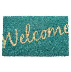 Cursive Welcome Non-Slip Coir Doormat