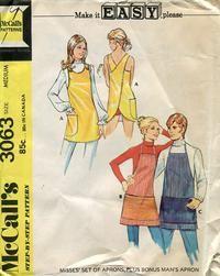 Vintage McCalls 3063 CUT Misses Criss Cross Apron, and Mens Butcher Apron Sewing Pattern - Size Medium Mccalls Patterns, Vintage Sewing Patterns, Apron Patterns, Sewing Aprons, Sewing Clothes, Aprons For Men, Bias Tape, Unisex, Vintage Men
