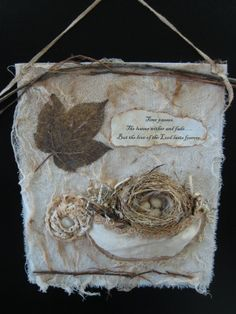 Fabric collage...great idea to use snippets of antique lace sitting in a box