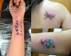 Small watercolor tattoos.  Tattooed by javiwolfink