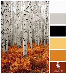 Bare Trees: Black, Grey, White, Gold, Orange, Terracotta, Brown - Colour Inspiration Pallet