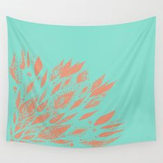 Coral & Blue Wall Tapestry blue wall tapestry coral by lake1221