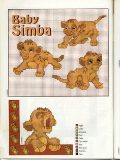 13 best lion king images in 2016 Simba Bebe, Baby Simba, Cross Stitch Baby, Cross Stitch Animals, Cross Stitching, Cross Stitch Embroidery, Lion King Images, Simba Disney, Minnie Baby
