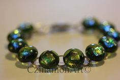 Transparent Green Dichroic Fused Glass Bracelet by CzinamonArt, Glass Jewelry, Unique Jewelry, Fused Glass, Beaded Bracelets, Handmade Gifts, Green, Etsy, Vintage, Kid Craft Gifts