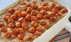 This chicken casserole is perfect for time-poor mums: pick up a roast chook, cans of soup, a pack of frozen veggies and a pack of  Birds Eye Sweet Potato Mini Gems and you have a creamy chicken bake for a filling family dinner.