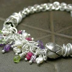 Shaggy Chain Maille Rose Bracelet Perfect for charm bracelet
