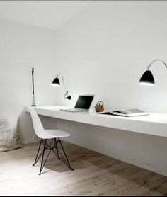 Super minimal space - no distractions. Home office inspiration from Norm Architects. Home Office Home Office Inspiration, Workspace Inspiration, Interior Inspiration, Office Ideas, Design Inspiration, Office Decor, Office Table, Bedroom Inspiration, Office Furniture