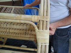 cane binding, step by step on how to carry out cane binding repairs Cane Outdoor Furniture, Painting Wicker Furniture, Cane Furniture, Bamboo Furniture, Furniture Repair, Upcycled Furniture, Vintage Furniture, Chair Repair, Wicker Hamper