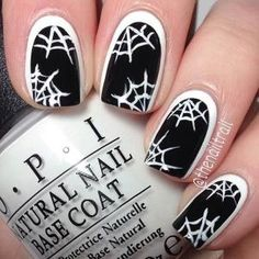Black & White Spider Web Nails for Halloween by louise