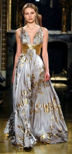 Gorgeous Murad gown , silver and gold.