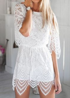 Sexy Hollow Back Round Neck White Lace Rompers