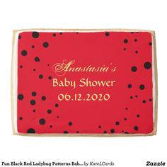 Fun Black Red Ladybug Patterns Baby Shower Sweet Jumbo Shortbread Cookie