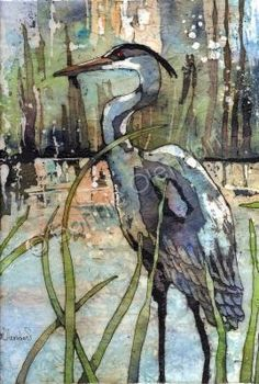 """Heron In The Reeds"" - by Bonnie Olendorf Category:	Paintings	Style:	 Batik On Rice Paper 	Medium:	Water Color And Wax"