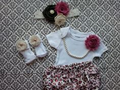 Baby Girl, Newborn, Leopard Outfit, Socks Headband Bloomers, Mauve Pink Shabby Flowers, Ecru Crochet, Ivory Chiffon, Pearl Necklace on Etsy, $45.00