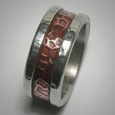 Rustic wedding band for men  custom handmade mixed by DougDesigns, $215.00