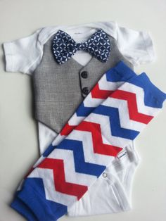 Baby Boy Onesie With Grey Vest Attached  Blue White  by Fluffylamb, $29.99