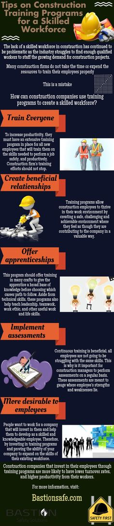 This #infographic describe the helpful #Tips on #Construction Training Programs for a Skilled Workforce. #safety